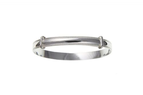 Solid Silver Baby Bangle Millgrain Edge 18 Months to 3 Years